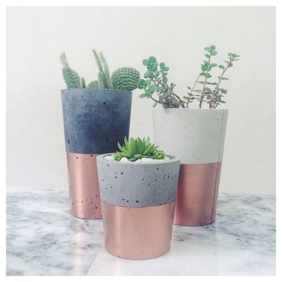 Copper dipped concrete pots SORT cement london by sortcement