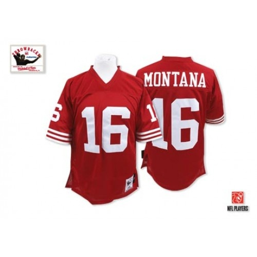 Nike Mitchell and Ness San Francisco 49ers http://#16 Joe Montana Red Authentic NFL Jersey$109.99