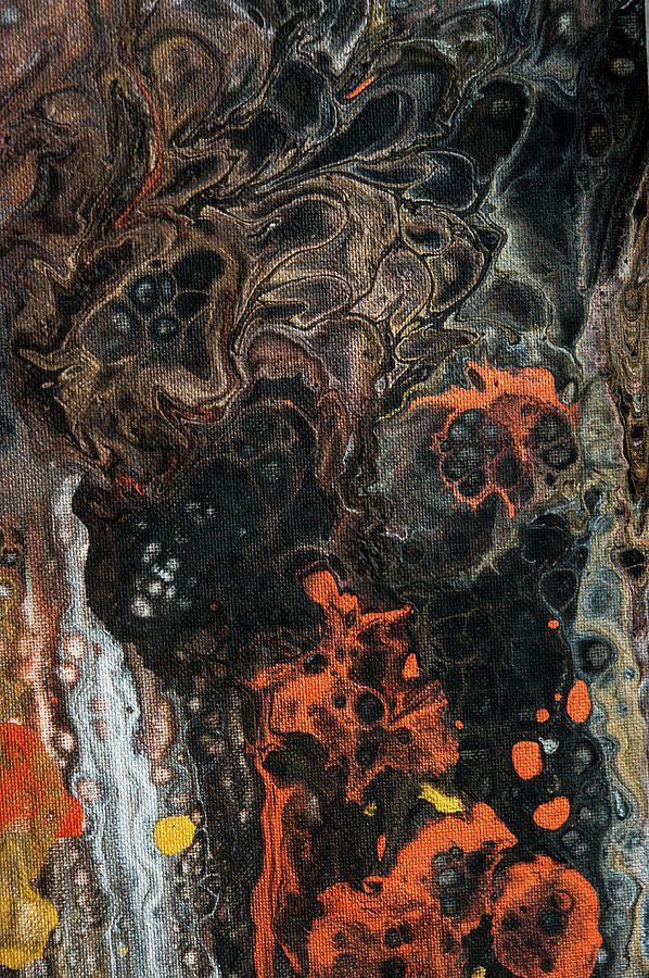 Luminous Nights 2. Abstract Fluid Acrylic Painting Painting by Jenny Rainbow