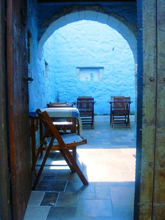 Blue entrance of a turkish restaurant.....