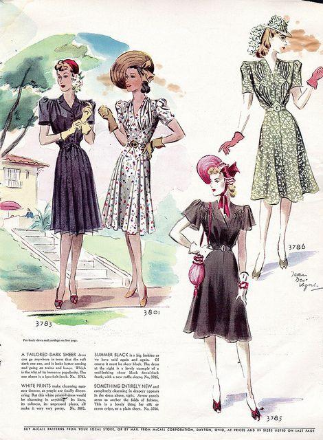 1940s fashion illustration #7, via Flickr.