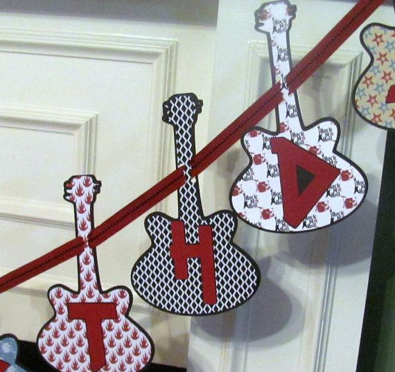 Rock Star Personalized Birthday Banner featuring Guitar Heroes on Etsy, $30.00