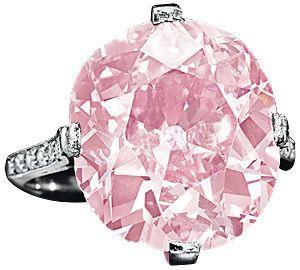 Belle-Epoque-Cushion-Cut_Bague en platine et diamants dont le centre est un diamant rose de plus de 9 carats. Propriété de Mme Huguette M. Clark