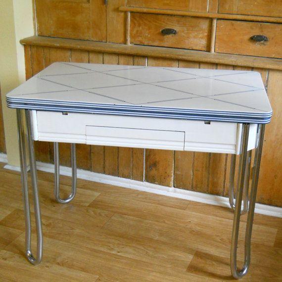 Antique Enamel Top Table | Vintage Enamel Top Kitchen Table by lisabretrostyle2 on Etsy