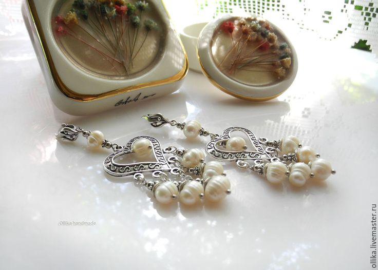 Купить серьги Сердца Сasual pearls, серьги жемчужные, серьги с жемчугом, в интернет магазине на Ярмарке Мастеров
