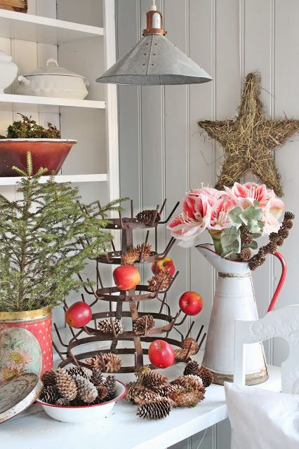 "VIBEKE DESIGN   Apples on Bottle Drying Rack... ""Tree"" in vintage tin..."
