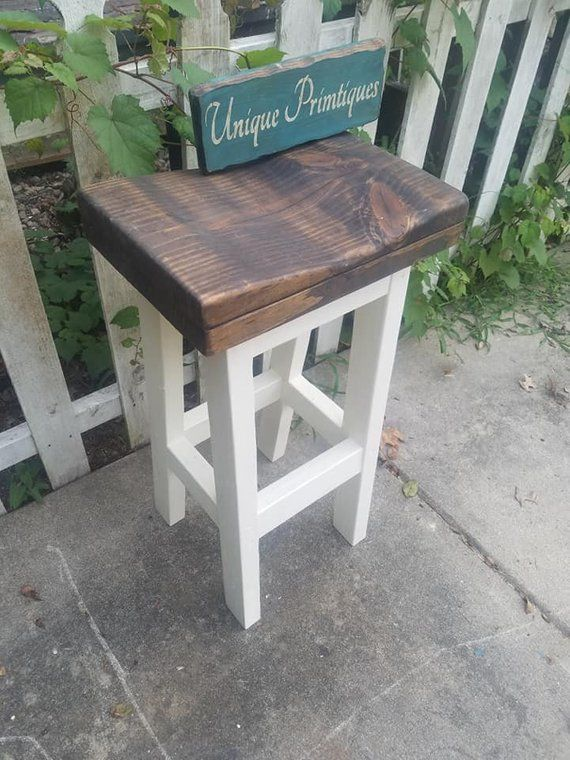 Farmhouse Bar Stool Rustic Farm House Kitchen Tall Or Short Reclaimed Wood Bench Contour Seat Custom Sizes Colors See Drop Down Menu Option Farmhouse Bar Stools Reclaimed Wood Benches Bar Stools