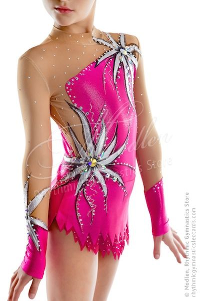 The rhythmic gymnastics leotard (also could be sewn for acrobatic gymnastics or ice figure skating) is made of stretch lycra, transparent mesh, a lot of decorative applications, painted by paint, decorated by bright crystals.  At the front and at the back of the leotard there are about 1000 basic crystals but you can order more with Swarovski crystals.