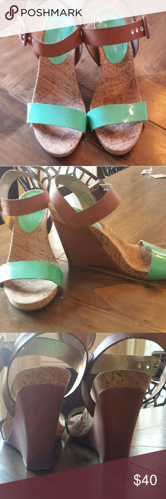 BCBG teal wedge sandals Super cute & comfy teal wedges. A few scuffs but only worn a few times! BCBGeneration Shoes Wedges