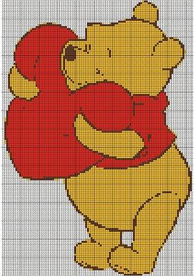 winnie the pooh heart cross stitch