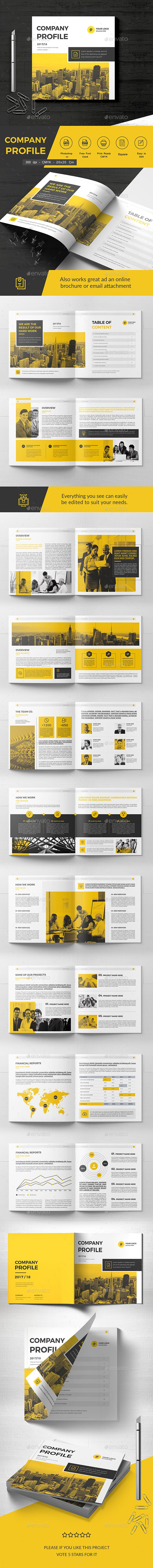 Square Company Brochure Template PSD - 22 Pages