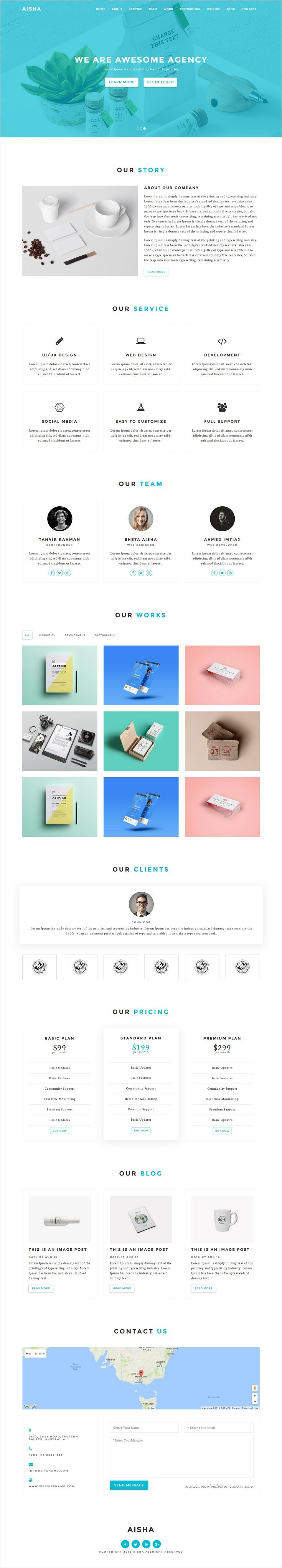 Aisha is fresh and clean material design #Bootstrap HTML5 #template for responsive #agency, corporate and business website with 3 unique homepage layouts download now➩ https://themeforest.net/item/aisha-material-design-html5-agency-template/17415072?ref=Datasata