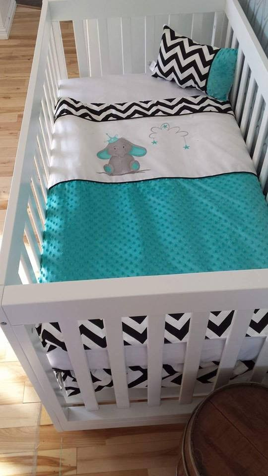 This magnificent Teal Elephant bedding is 100% made in Quebec.  Each set includes, duvet cover, crib skirt, fitted sheet, 8