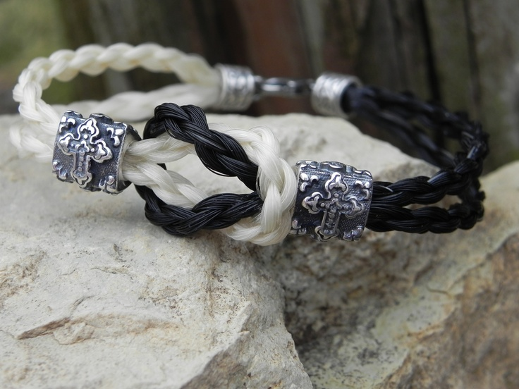 "Horse Hair Bracelet Sterling Silver ""Love Knot"""