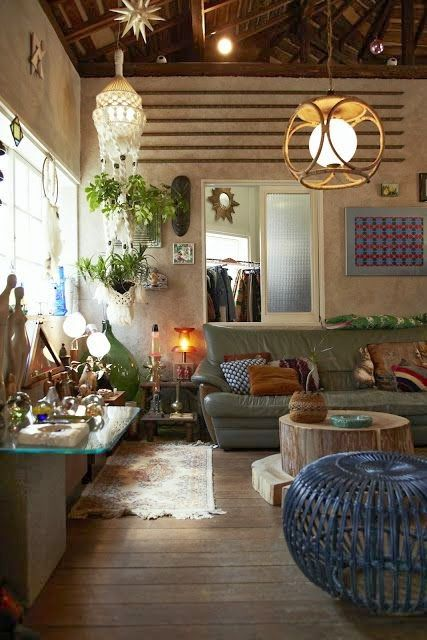 There are all kinds of useful items to us in this picture and gives you an idea of the sort of texture we're aiming for to style our spaces. Do you have any interesting coffee tables, moroccan pouffes, simple quirky lampshades, frames, geometric rugs or botanical print cushions that might fit into this kind of look?