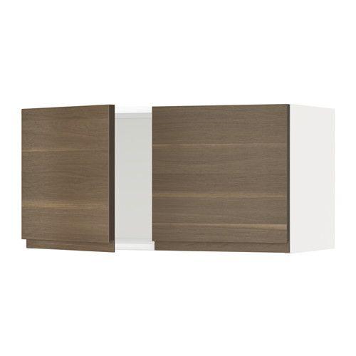 METOD Väggskåp med 2 dörrar - Voxtorp valnötsmönstrad, vit - IKEA