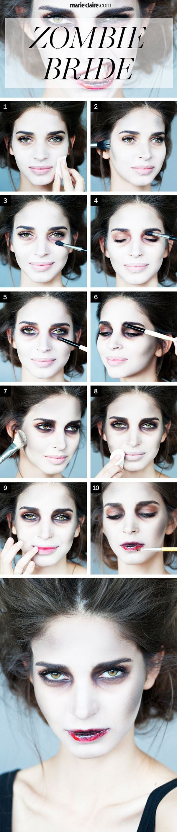 Awesome Halloween Zombie makeup tutorial. Pinning so I can try it out soon!