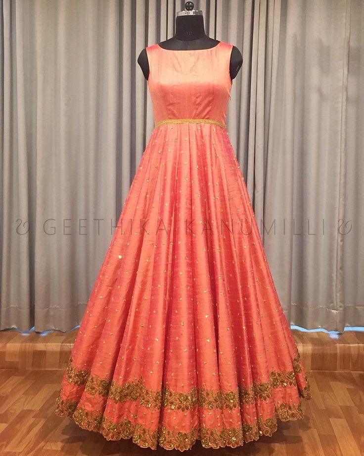 Beautiful floor length designer anrkali dress with sleeve less. Anarkali with hand embroidery gold thread and zardosi work. 03 December 2017