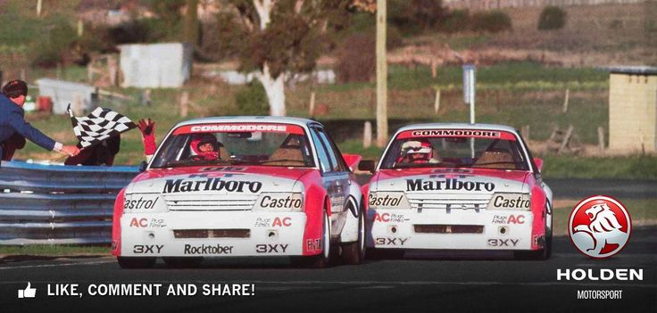 Peter Brock and Larry Perkins, Bathurst 1000 1984 winners, both legends of the mountain. Imagine driving 1000 km in race conditions on the most challenging racetrack in Australia, very tough.