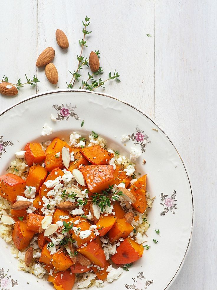 Roasted pumpkin with couscous and feta cheese