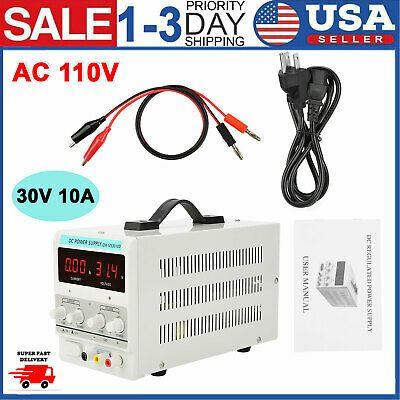 Ac 110v Dc Power Supply Precision Variable Digital Adjustable Clip Cable 30v 10a In 2020 Power Supply Ebay Power