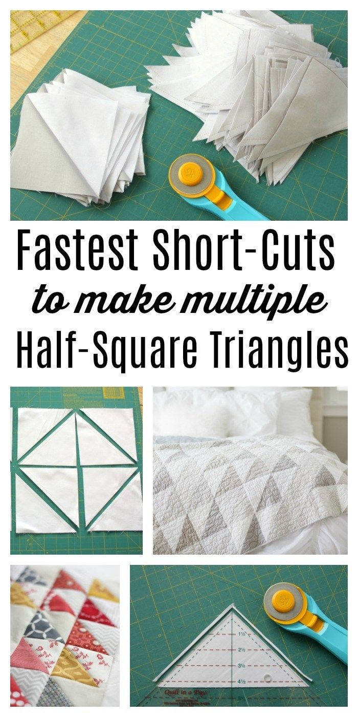 Short-cuts for making and squaring-up multiple Half Square Triangle Quilt Blocks at once. Video tips and time-saving tutorial.
