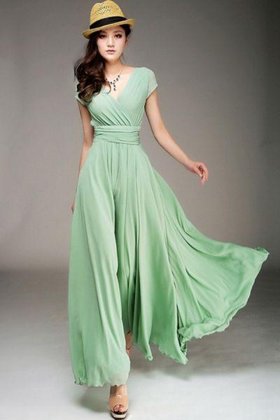 Wrapped V-neck High Waist Maxi Dress