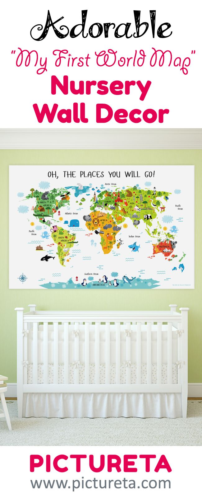 """Ready to hang on the wall, the poster of the map of the world for kids has adorable design to make beautiful nursery art, child's bedroom wall decor, or serve as playroom's educational geography game titled """"Oh, the places you will go!"""" with white background to match any nursery or playroom interior."""