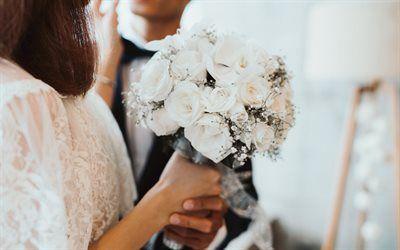Scarica sfondi Bouquet di nozze, rose bianche, sposa, sposo, matrimonio, mazzo di rose