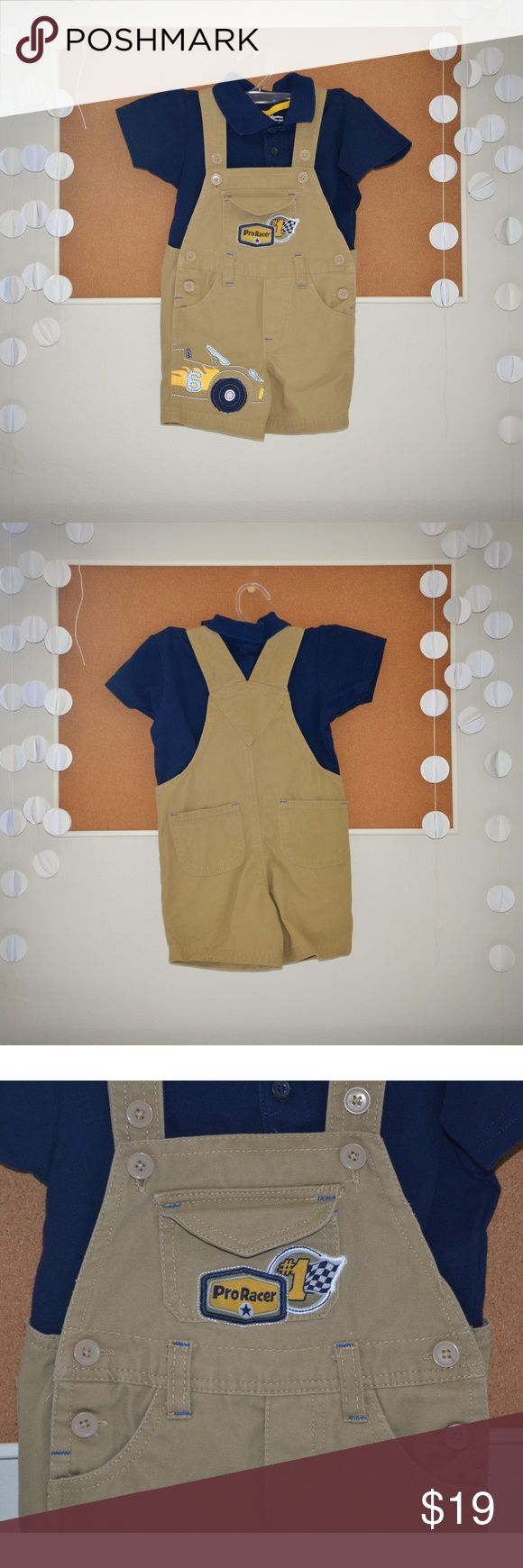 "Beige Boy's ""Pro Racer"" Overalls & Navy Polo Shirt Was washed after purchase but never used.  100% Cotton ""Pro Racer"" bib embroidery Items in Set: 2 piece sets Classic polo shirt included Shirt: Polo collar Button placket Short sleeves Overalls: Shoulder straps, button closure Hip buttons Faux fly Knit construction Shortall with cars screen print, belt loops, functional pockets  RN# 16435 RN 16435 LR95029/0108 1216 Description Item # 029VA72945512P  Model # 9CL4517 Made in Bangladesh MSRP…"