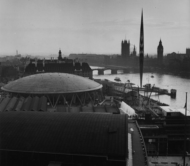 The Royal Festival Hall, South Bank, during the Festival of Britain, 1951. Photograph: Jane Bown