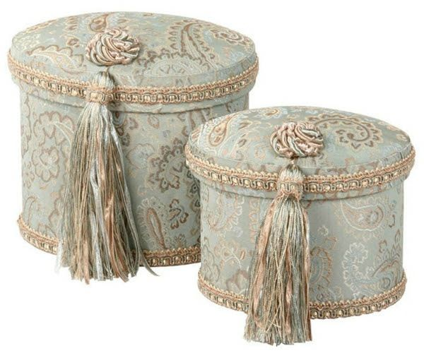 Beautifully embellished with elegant fabric and ribbons or tassels, this line includes hat boxes, storage boxes, gift boxes, tissue boxes, envelope chest (jewelry box) and more.