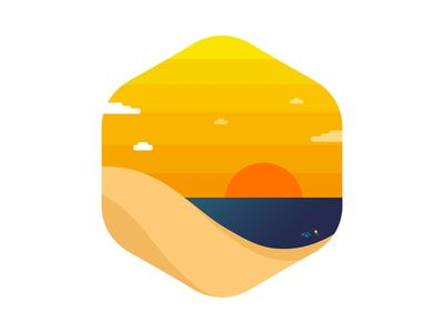 Sunset Beach flat nature icon badge illustration shape vector beach landscape summer sunset