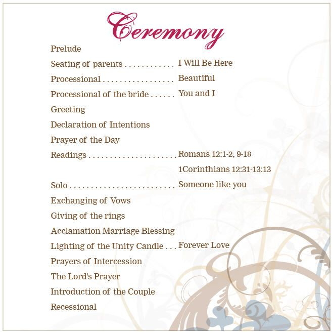 The 25+ best Wedding ceremony outline ideas on Pinterest Wedding - wedding program inclusions