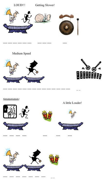 Grade 3-5 Lesson Plan 2 Gamelan Music- follow this through and he gives you a piece of Gamelan Music to follow along with.  When I taught Music Appreciation in undergrad- Gamelan Music produced the most expressive visual response art.