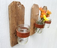 old wood fence craft ideas | Reclaimed upcycled wood fence board with leather belt holding mason ...