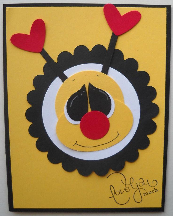 Stampin Up handmade greeting card paper pieced bee Valentines kids birthday love