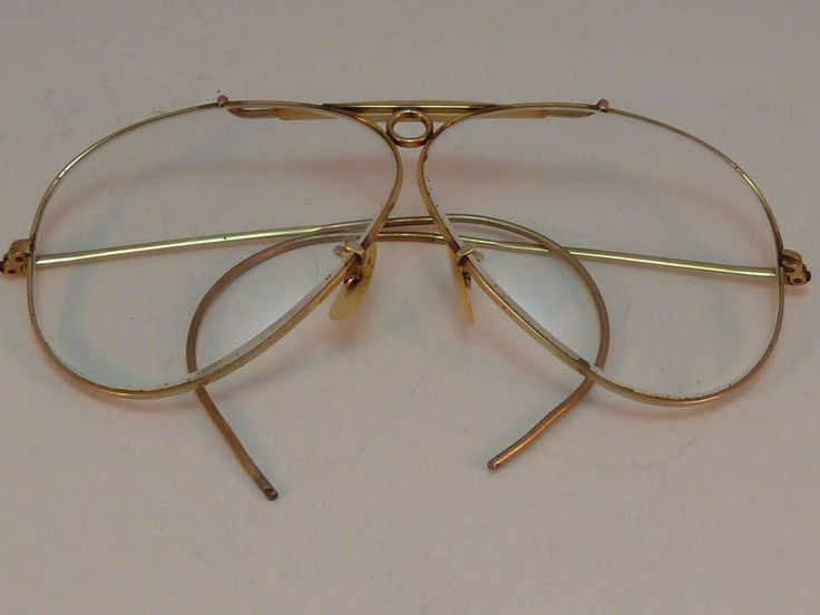 Glasses Frames Cable Temple : Vintage Ray Ban Aviator Shooter Glasses Clear Lenses Gold ...