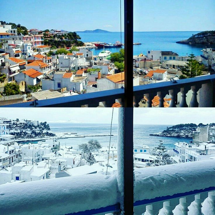 Summer ☉ or Winter ❄ ? No matter what the season is, the view from our balconies is magnificent!! 🔝 🌍 www.angelosalonissos.com  Be our guest and feel the real greek hospitality 😀 Exceptional 9.6/10 score from 49 reviews on booking.com 😀 Certificate of Excellence on TripAdvisor 🏅🏆 #angelos_apartments #alonissos #sporades #greece #greekislands #summer2017