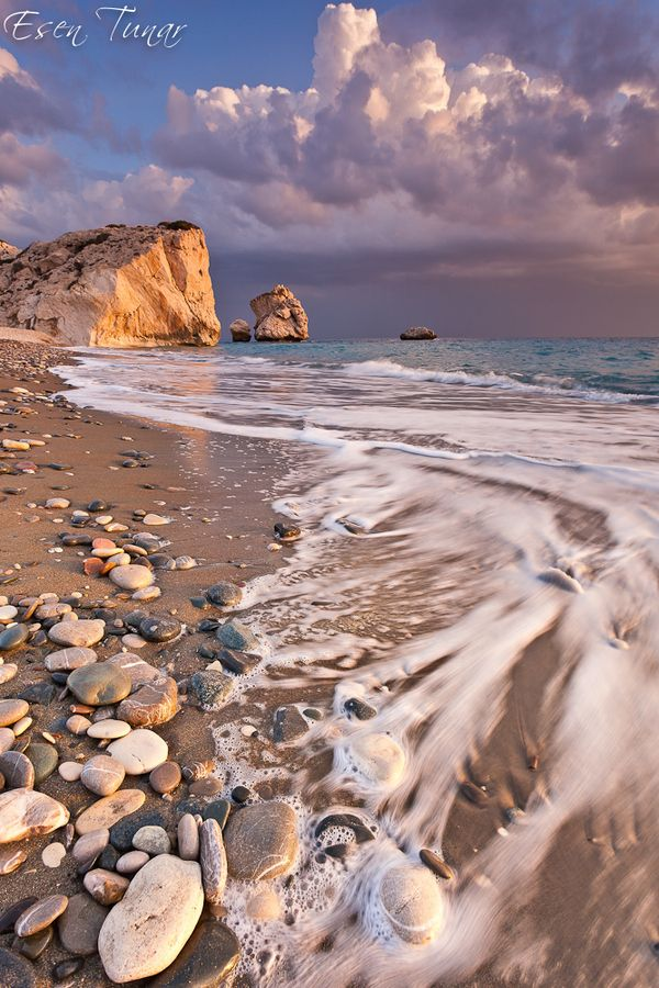 """Aphrodite's rock or """"Petra tou Romiou"""" at #Paphos coast, #Cyprus. According to Greek mythology this is the place where the goddess Aphrodite came to life out of the foam of the waves. #kitsakis"""