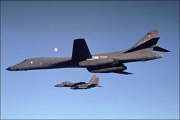 B-1 Bomber w/ F-15 Eagle Photo Print for Sale