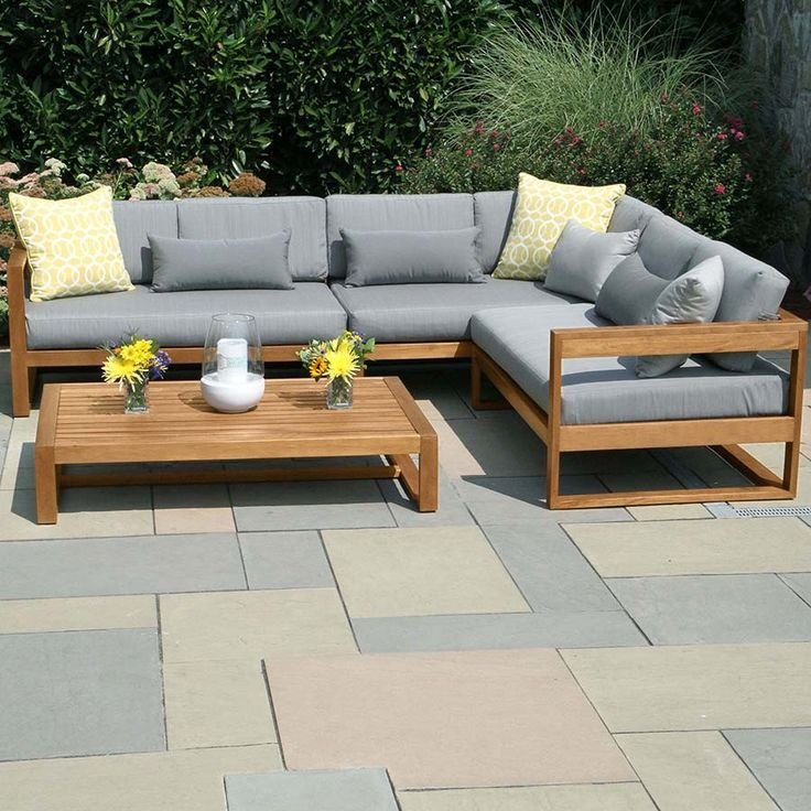 The Casita Right L Sectional Set Features Low, Deep Set Seats, Thick  Cushions, And A Sturdy Teak Frame.