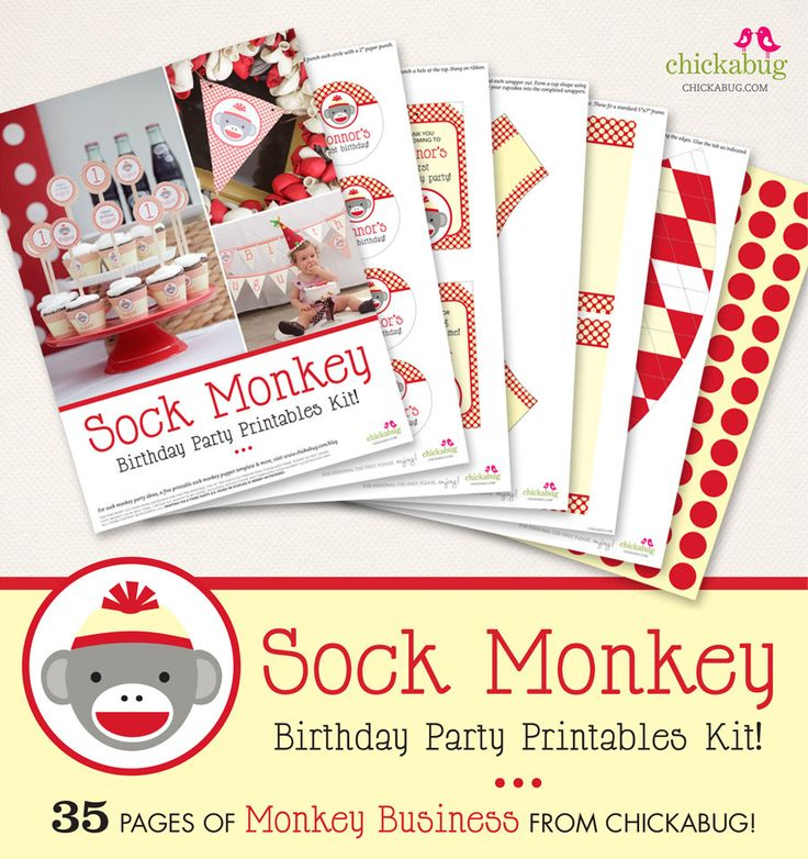 Sock Monkey birthday party PERSONALIZED printables kit - 35 pages of printables from Chickabug!