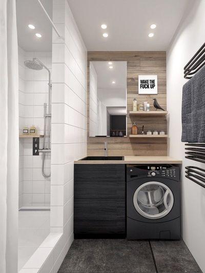 Machine à laver dans une petite salle de bain design  http://www.homelisty.com/petite-salle-de-bain-lave-linge/