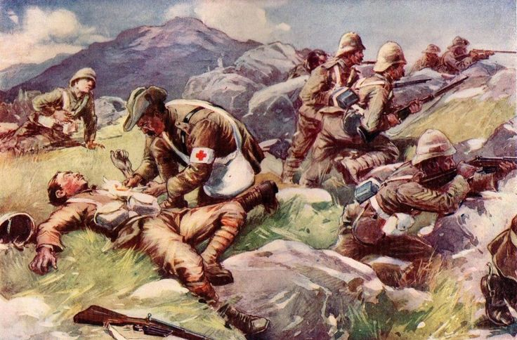 British surgeon tending to the wounded during the Boer War