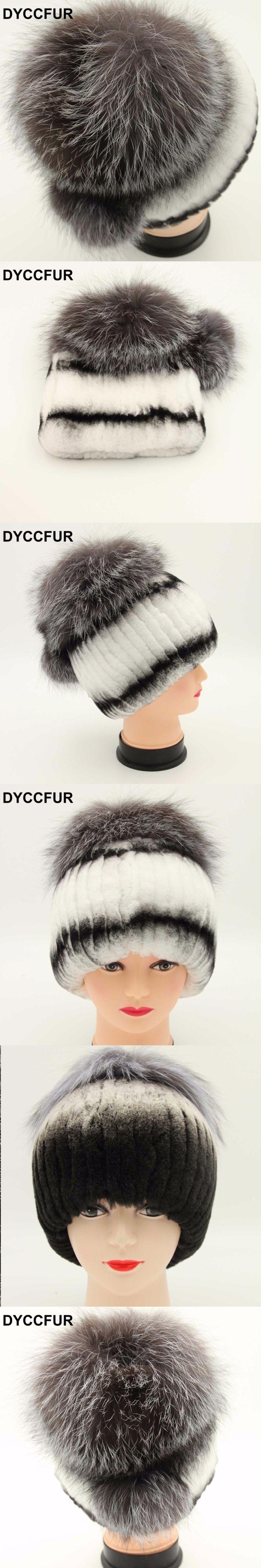 DYCCFUR 2017 new women winter real fur hat with silver fox fur top female elastic knitted cap rex rabbit fur hat Beanies