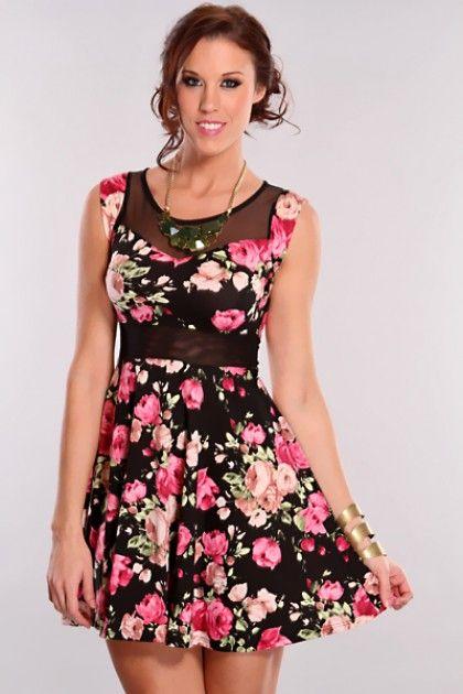 Fashion week Floral black sun dresses for girls