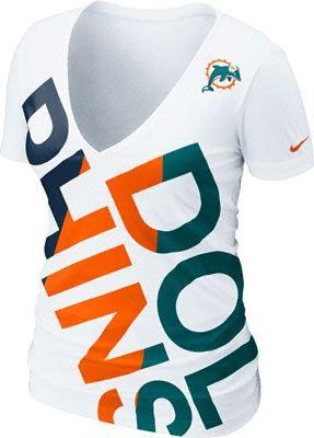 Neeeeeed for football season- Miami Dolphins Women's White Nike Off-Kilter Tri-Blend Deep V-Neck T-Shirt