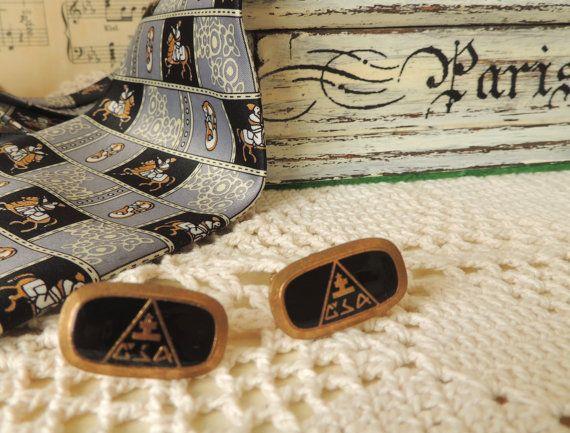 Vintage Czech Cufflinks Brass Cuff Links Gift for Him