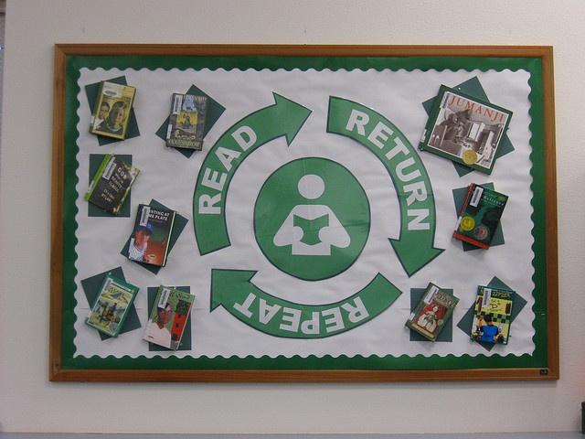 """Read Return Repeat"" library Bulletin Board"